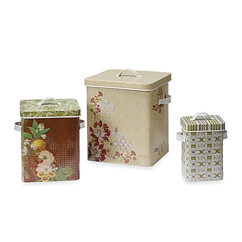 Decorative Tin Containers with Lids (Set of 3)