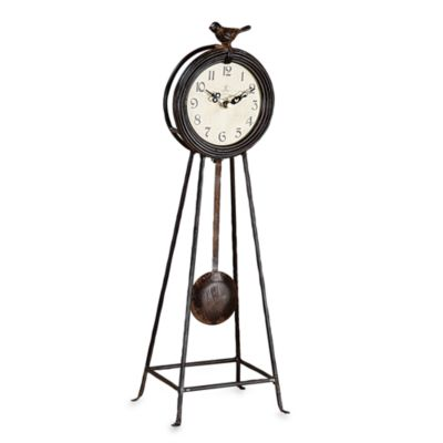 Creative Co-Op Wrought Iron Clock with Pendulum