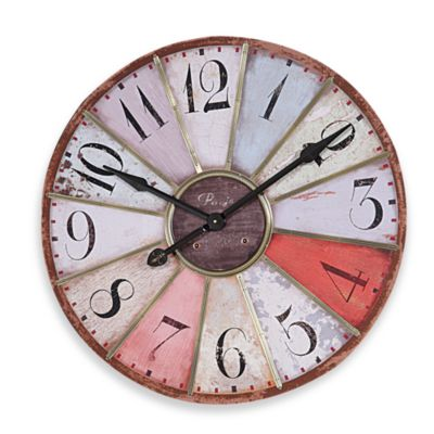 Creative Co-Op Multi-Color 29-Inch Wooden Wall Clock