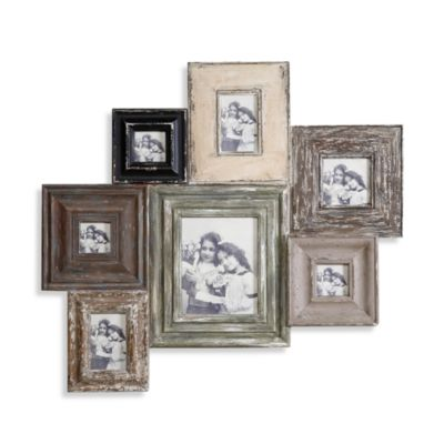 Creative Co-Op Distressed Wood 35 1/2-Inch Photo Collage