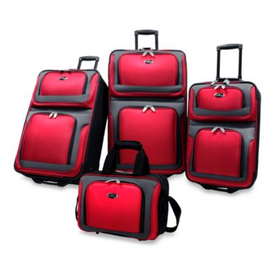 NY 4-Piece Luggage Set by U.S. Traveler in Red