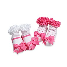 Mud Pie™ Pink Initial Socks (Set of 2) - B