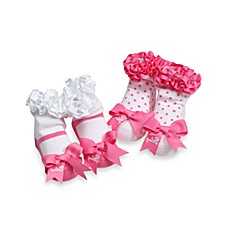 Mud Pie™ Pink Initial Socks (Set of 2) - K