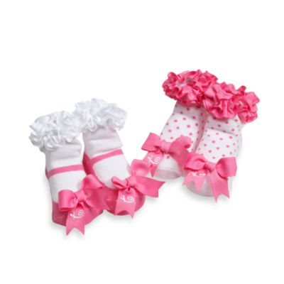 "Mud Pie™ Pink Initial ""T"" Socks (Set of 2)"