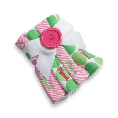 "Mud Pie™ Pink Initial ""I"" Washcloths (Set of 4)"