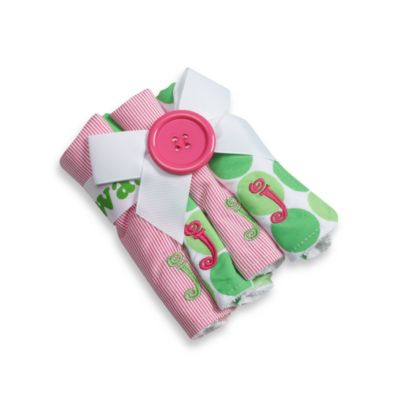 "Mud Pie™ Pink Initial ""J"" Washcloths (Set of 4)"