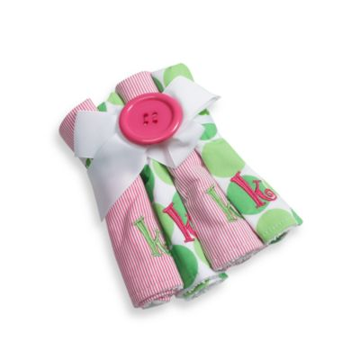 "Mud Pie™ Pink Initial ""K"" Washcloths (Set of 4)"