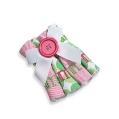 "Mud Pie™ Pink Initial ""M"" Washcloths (Set of 4)"