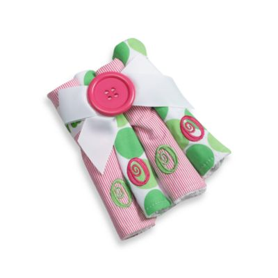"Mud Pie™ Initial Letter ""O"" Washcloths in Pink (Set of 4)"