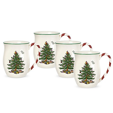 Spode® Christmas Tree Candy Cane Handle Mugs (Set of 4)
