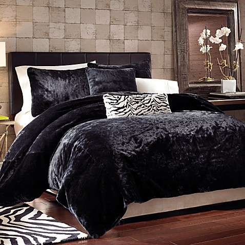 Black Panther Faux Fur Duvet Cover Set