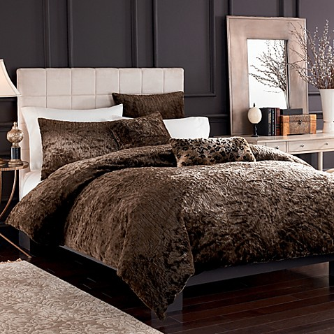 Puma Brown Faux Fur Full Queen Duvet Cover Set Bed Bath