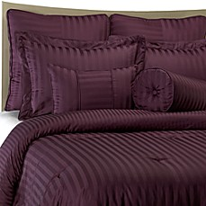 Wamsutta® Damask Stripe 100% Egyptian Cotton Comforter Set in Purple