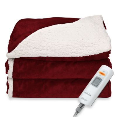 Sherpa Electric Heated Throw in Garnet
