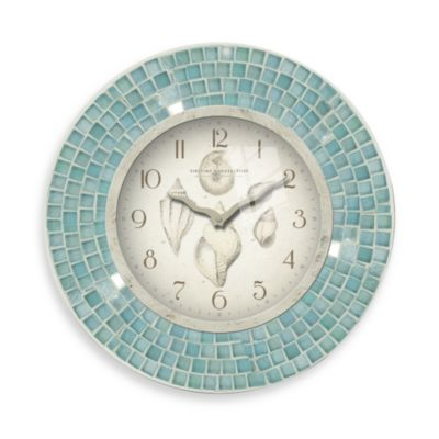 FirsTime® Blue Mosaic 11 1/2-Inch Seashell Clock