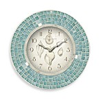 Blue Mosaic 11 1/2-Inch Seashell Clock