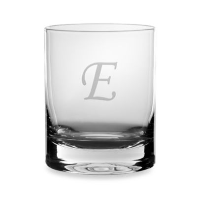 "Mikasa® 14-Ounce Monogrammed Letter ""E"" Double Old Fashioned Glasses (Set of 4)"