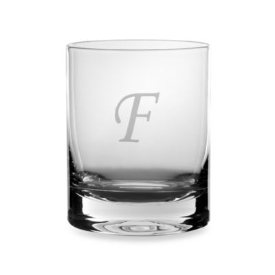 "Mikasa® 14-Ounce Monogrammed Letter ""F"" Double Old Fashioned Glasses (Set of 4)"