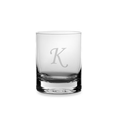 "Mikasa® 14-Ounce Monogrammed Letter ""K"" Double Old Fashioned Glasses (Set of 4)"