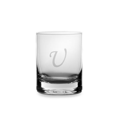 "Mikasa® 14-Ounce Monogrammed Letter ""U"" Double Old Fashioned Glasses (Set of 4)"