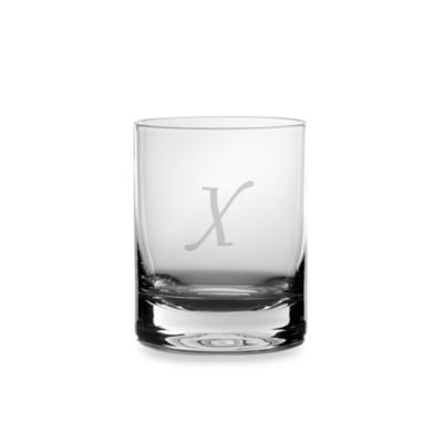 "Mikasa® 14-Ounce Monogrammed Letter ""X"" Double Old Fashioned Glasses (Set of 4)"