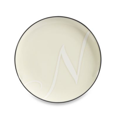 "Noritake Colorwave Letter ""N"" Accent Plate in Graphite"