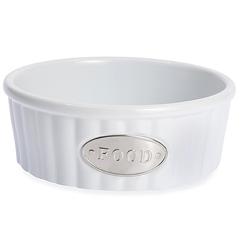 Petrageous® Designs Class Act Stoneware 5-Inch Round Pet Food Bowl