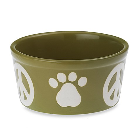 Petrageous® Designs Peace Paws Meadow Green Stoneware Pet Bowl