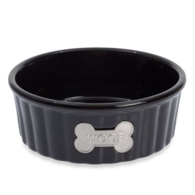"Petrageous® Designs Class Act II 5-Inch Round ""WOOF"" Stoneware Pet Bowl"