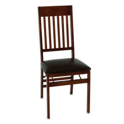 Wood Folding Chair With Walnut Finish