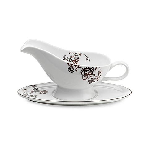 Mikasa® Gourmet Basics Chocolate Swirl Gravy Boat And Saucer
