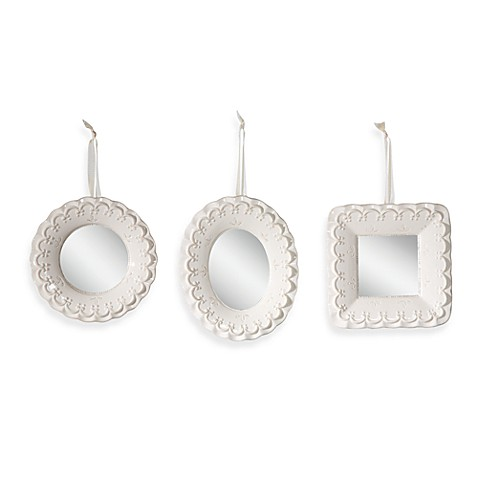 Creative Co-Op Ceramic Mirrors (Set of 3)