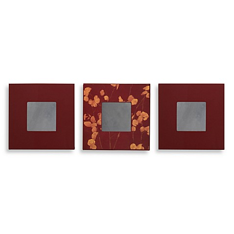 Aubergene And Burgundy Decorative Wall Mirrors (Set Of 3)