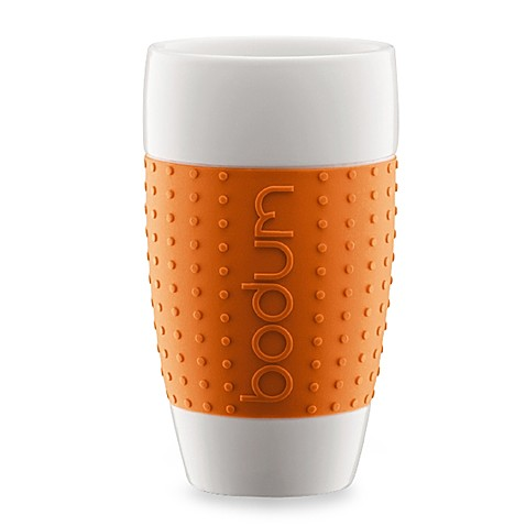 Bodum® Pavina 17-Ounce Porcelain Cups with Silicone Grips (Set of 2) - Orange
