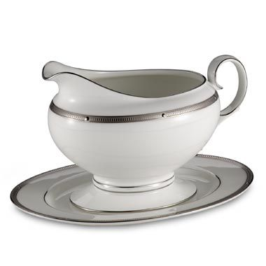 Noritake® Rochelle Gravy Boat with Tray in Platinum