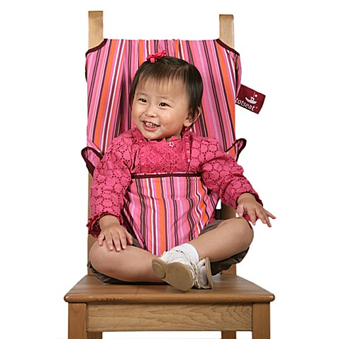 Totseat Portable Highchair in Pink Stripes