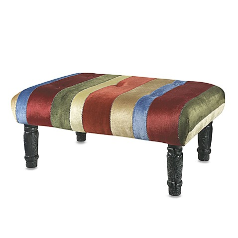 Multi-Colored Velvet Striped Ottoman