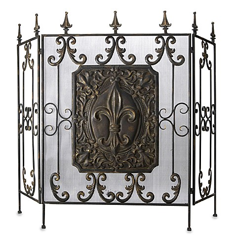 fleur de lis iron fireplace screen bed bath beyond