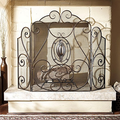 mesh iron medallion tri panel fireplace screen bed bath beyond. Black Bedroom Furniture Sets. Home Design Ideas
