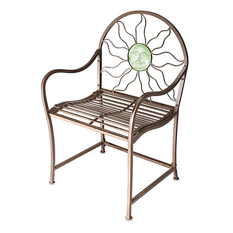 Red Rustic Garden Chair with Green Sun Face