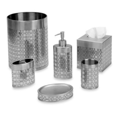 Avanti Basketweave Boutique Tissue Holder in Silver