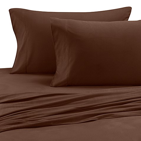 Micro Flannel® Solid Queen Sheet Set in Chocolate