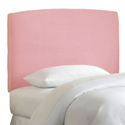 Skyline Curved Twin Microsuede Headboard in Light Pink