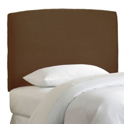 Skyline Curved Microsuede Full Headboard in Chocolate