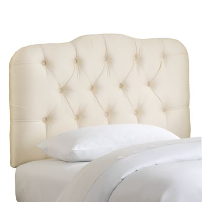 Skyline Tufted Shantung Twin Headboard in Parchment