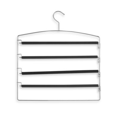 Venetian Collection Metal And Black Rubber 4-Tier Swing Arm Trouser Rack