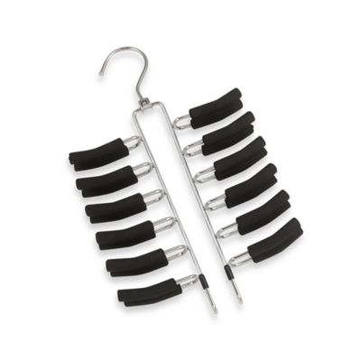 Venetian Collection Metal And Black Rubber Tie Rack Hanger in Holds 24 Ties