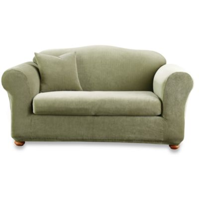 Sure Fit® Stretch Stripe 2-Piece Loveseat Slipcover