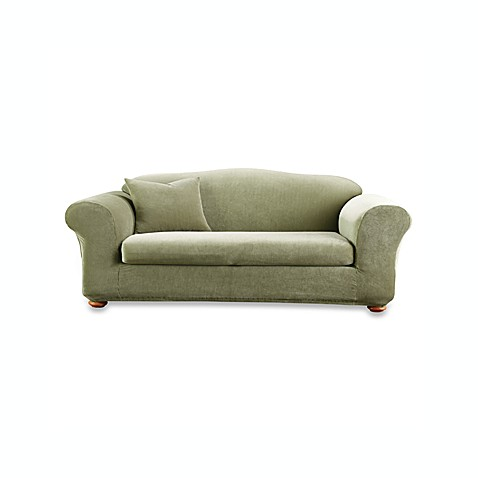 Sure Fit® Stretch Stripe 2-Piece Sofa Slipcover in Sage