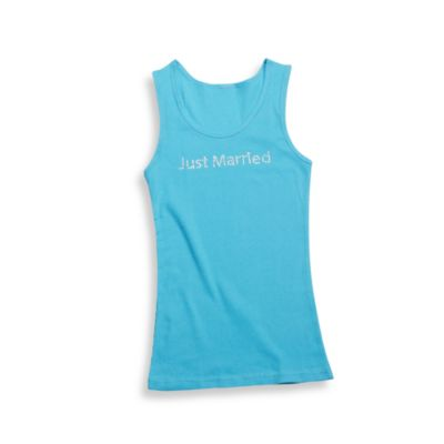 Teal -InchJust Married-Inch Large Tank Top